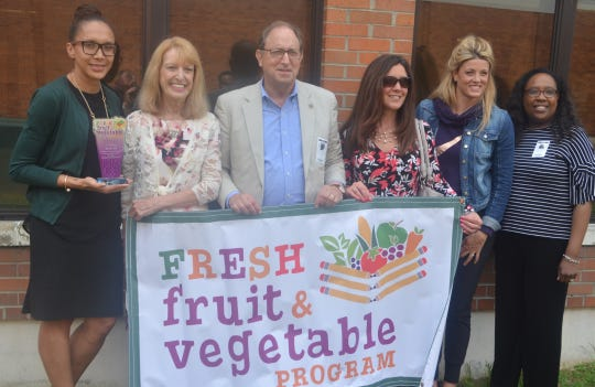 The photo is a file photo taken last spring in Elizabeth. Those pictured are, from left, Jerome Dunn School No. 9 Principal Yalitza Torres, NJDA Fresh Fruit and Vegetable Program Coordinator Janet Celi, NJDA Secretary Douglas Fisher, NJDA Food and Nutrition Division Director Rose Tricario, Jerome Dunn Academy No. 9 Physical Education Teacher Lacey Mc Conkey and USDA Acting Branch Chief for School Nutrition Programs Monique Feeney.