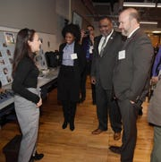From left, student Isabella Benanti of East Brunswick speaks to Secretary of Higher Education Zakiya Smith Ellis, Commissioner of Education Lamont Repollet, and Commissioner of Labor and Workforce Development Robert Asaro-Angelo during a tour of the pre-engineering and advanced manufacturing classroom on the MCVTS East Brunswick Campus.