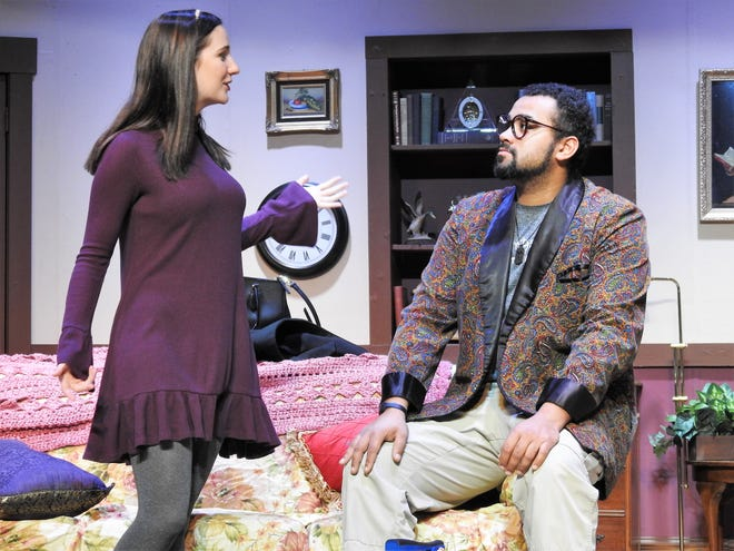 """Kennedy Webb and Luke Widder play a divorced couple in """"Funny Valentines"""" who reunite when the children's character they created is in line for a television show. Performances are at 8 p.m. Nov. 30 and Dec. 1, 7, 8, 14 and 15 and 2 p.m. Dec. 9 at the Triple Locks Theater."""