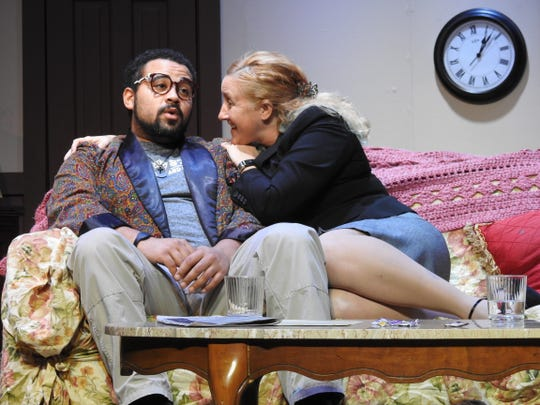 """Luke Widder and Angela Stewart rehearse a scene from """"Funny Valentines"""" opening at the Triple Locks Theater. Stewart plays a television executive interested in the children's character created by Widder's illustrator and his ex-wife writer."""
