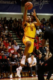 Iowa State guard Talen Horton-Tucker (11) goes up for a shot against San Diego State during the first half of a NCAA college basketball game at the Maui Invitational, Wednesday, Nov. 21, 2018, in Lahaina, Hawaii. (AP Photo/Marco Garcia)