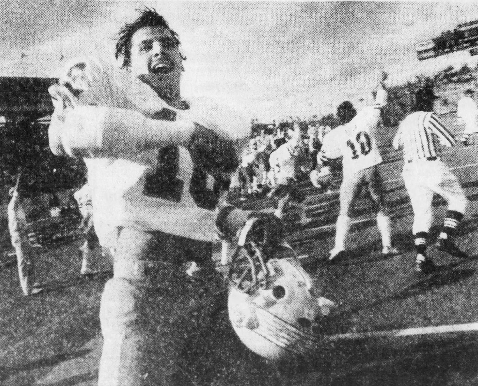 From 1985: Drake's Alan Schuckman celebrates after their 20-17 win Oct. 5, 1985 against Iowa State.