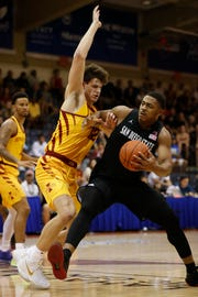 Iowa State forward Michael Jacobson (12) tries to keep San Diego State forward Matt Mitchell (11) from getting to the net during the first half of an NCAA college basketball game at the Maui Invitational, Wednesday, Nov. 21, 2018, in Lahaina, Hawaii. (AP Photo/Marco Garcia)