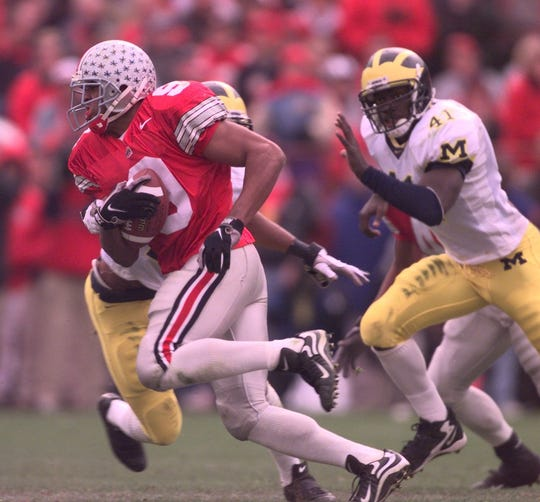 David Boston caught 10 passes for 217 yard sin Ohio State's 1998 win over Michigan in Columbus, Ohio.
