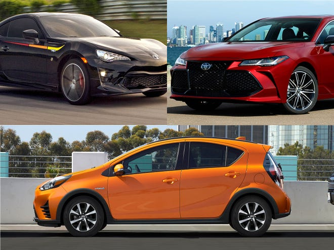 Clockwise from upper left, 2019 Toyota 86 TRD Special Edition, 2019 Toyota Avalon and 2018 Toyota Prius c