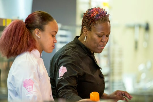 Tanea Blanchard, left, and April Anderson of Good Cakes and Bakes did a live cooking demonstration at the sold-out Whisked event.