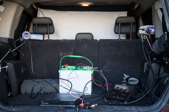 A two-camera setup in the back of a stationary vehicle at the Jane Doe Investigations office in Commerce Township on Wednesday, Nov. 14, 2018.