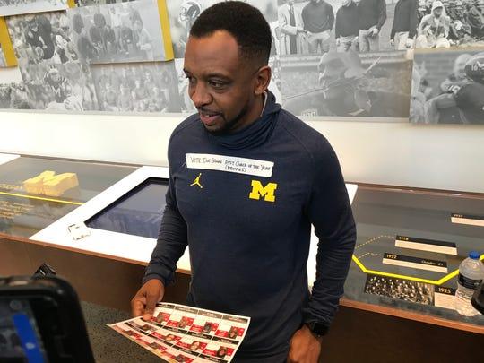 Michigan passing game coordinator Pep Hamilton speaks with reporters Wednesday, Nov. 21, 2018 in Ann Arbor.