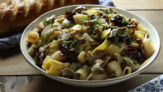 Pappardelle, studded with duck, golden turnips and prunes, offers a strong autumn twist on pasta. (E. Jason Wambsgans/Chicago Tribune/TNS)