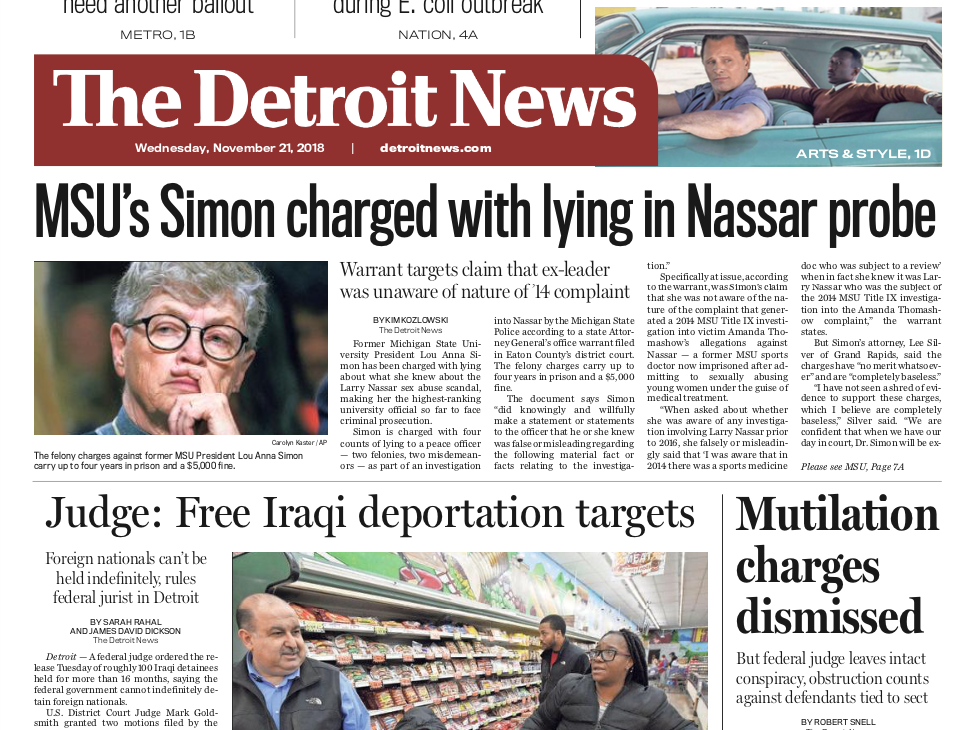 The front page of the Detroit News on Wednesday, November 21, 2018.