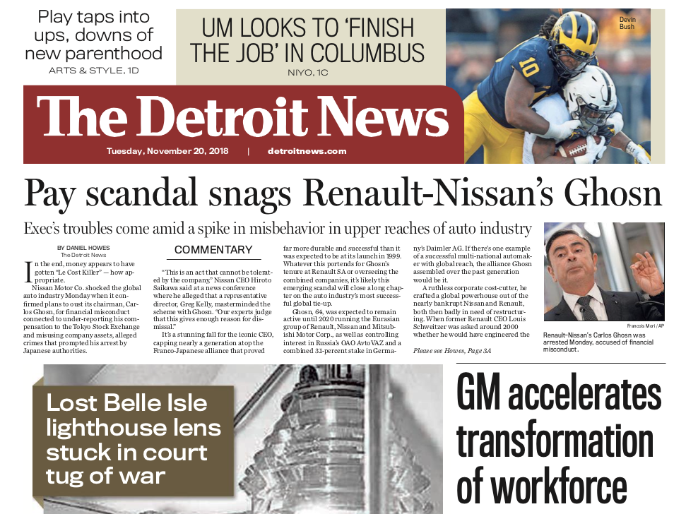 The front page of the Detroit News on Tuesday, November 20, 2018.