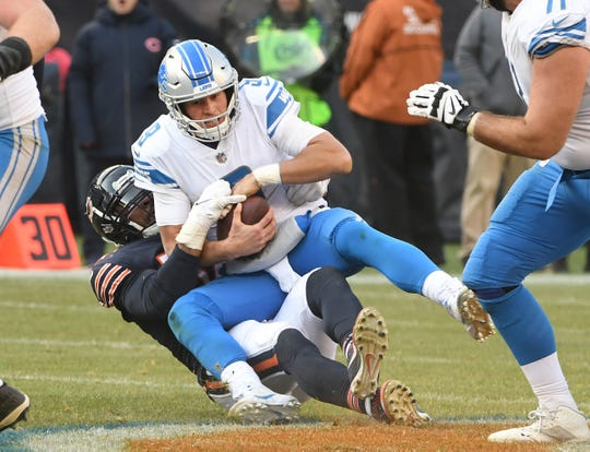 Lions quarterback Matthew Stafford threw two interceptions and had a passer rating of 74.9 when he faced the Bears on Nov. 11. He also was sacked six times.