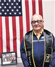 U.S. Army veteran Gary Hazlett was recently presented with a diploma from Haverling High School in Bath.