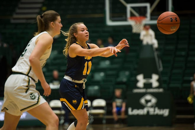 University of Northern Colorado senior pint guard Savannah Smith (10) passes during a game against Colorado State University on Tuesday, Nov. 20, 2018, at Moby Arena in Fort Collins, Colo.