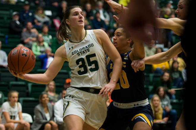 Colorado State University sophomore guard Lore Devos (35) passes under the basket during a game against the University of Northern Colorado on Tuesday, Nov. 20, 2018, at Moby Arena in Fort Collins, Colo.