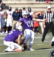 Furman place kicker Grayson Atkins (17) is transferring to UNC.