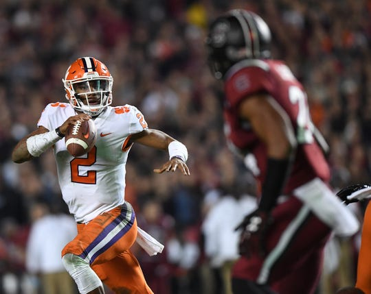 Clemson quarterback Kelly Bryant (2) looks to pass against South Carolina during the 2nd quarter on Saturday, November 25, 2017 at Carolina's Williams Brice Stadium.