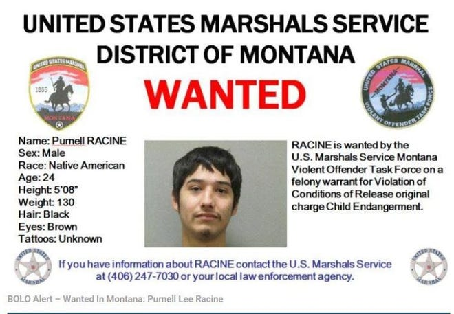 The U.S. Marshals have issued a BOLO alert for Purnell Racine in Cascade County.