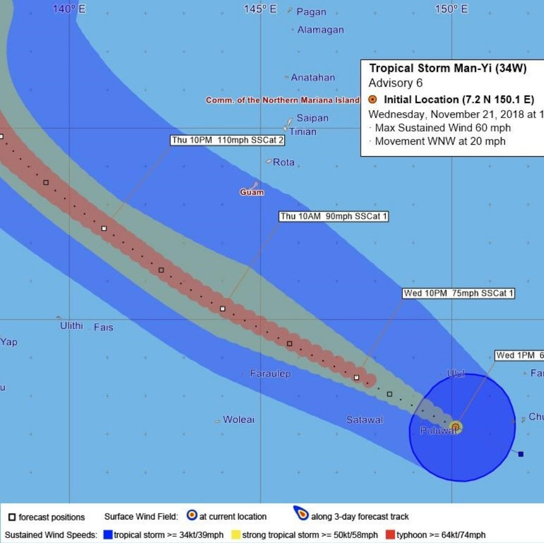 Tropical storm warning issued for Guam as Man-Yi approaches