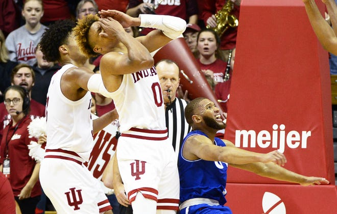 Indiana Hoosiers guard Romeo Langford (0) reacts after getting hit in the face during the game against UT-Arlington at Simon Skjodt Assembly Hall in Bloomington Ind., on Tuesday, Nov. 20, 2018.