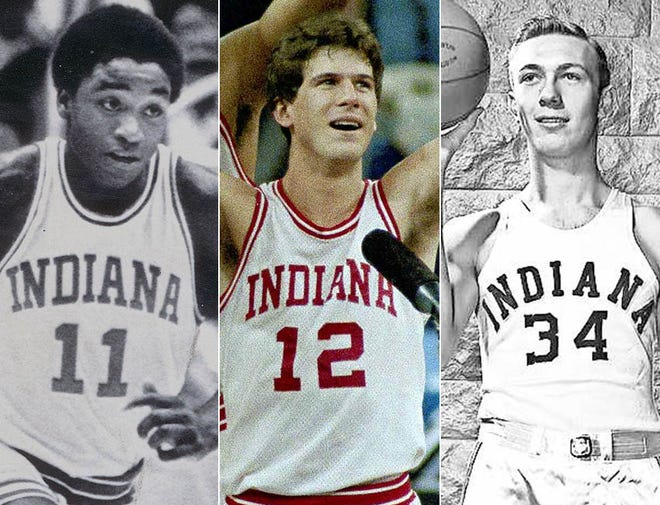 Left to right: Isiah Thomas, Steve Alford and Don Schlundt.