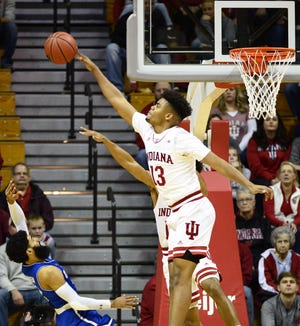 Indiana Hoosiers forward Juwan Morgan (13) blocks a shot during the game against UT-Arlington at Simon Skjodt Assembly Hall in Bloomington Ind., on Tuesday, Nov. 20, 2018.