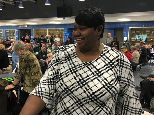 Royceann Porter works the crowd after being named the Democratic Party of Johnson County's nominee for the Special Election to fill a vacancy on the Board of Supervisors at Clear Creek Amana High School on November, 20 2018.