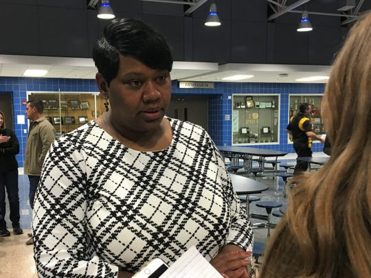 Royceann Porter speaks with reporters after being named the Democratic Party of Johnson County's nominee for the Special Election to fill a vacancy on the Board of Supervisors at Clear Creek Amana High School on November, 20 2018.