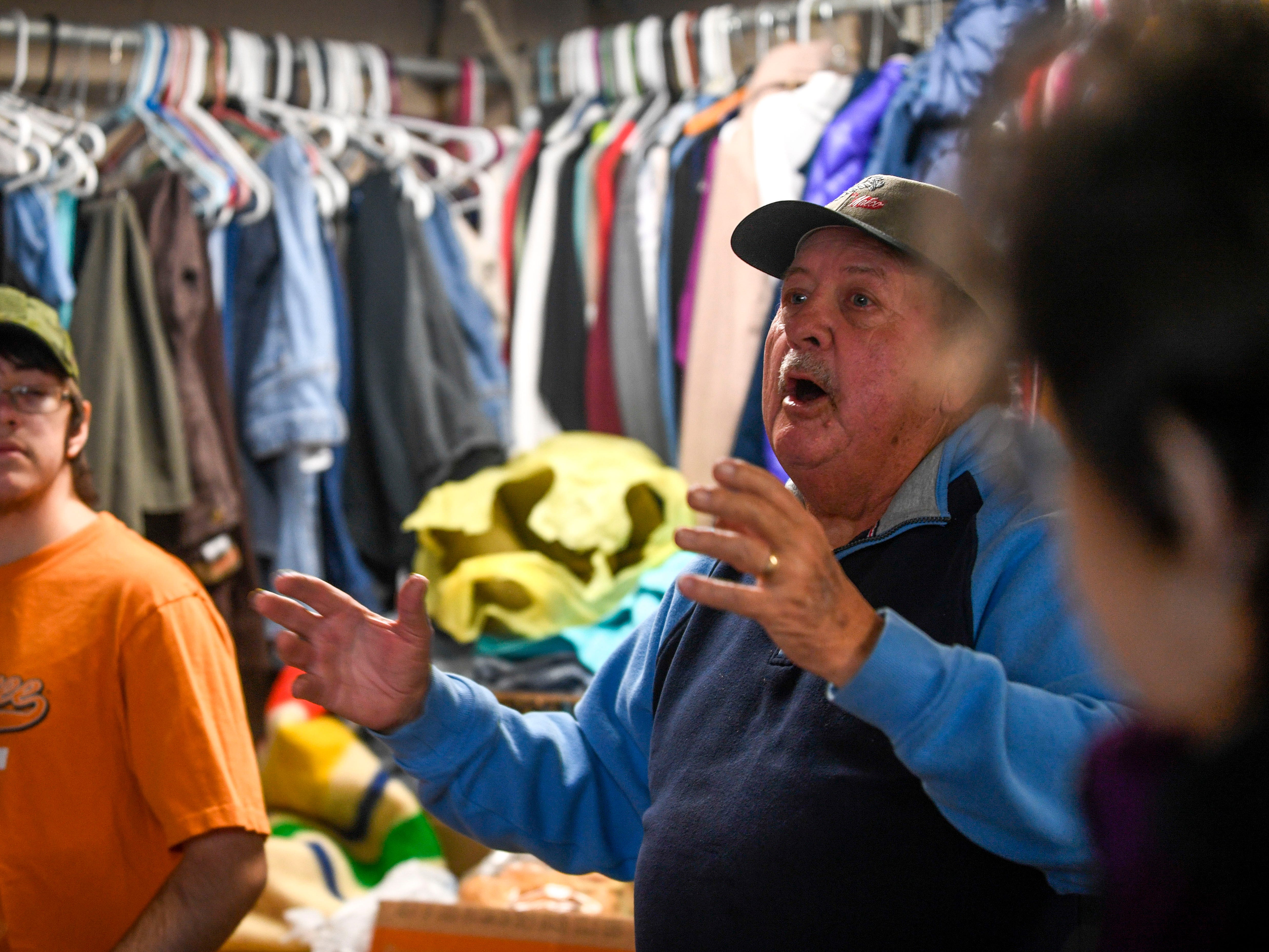 Gary Jack speaks out about what he is thankful for and that it's not only him but anyone that's alive that day that is blessed at the annual Thanksgiving meal put on by Safe Harbor Day Mission in Jackson, Tenn., on Wednesday, Nov. 21, 2018.