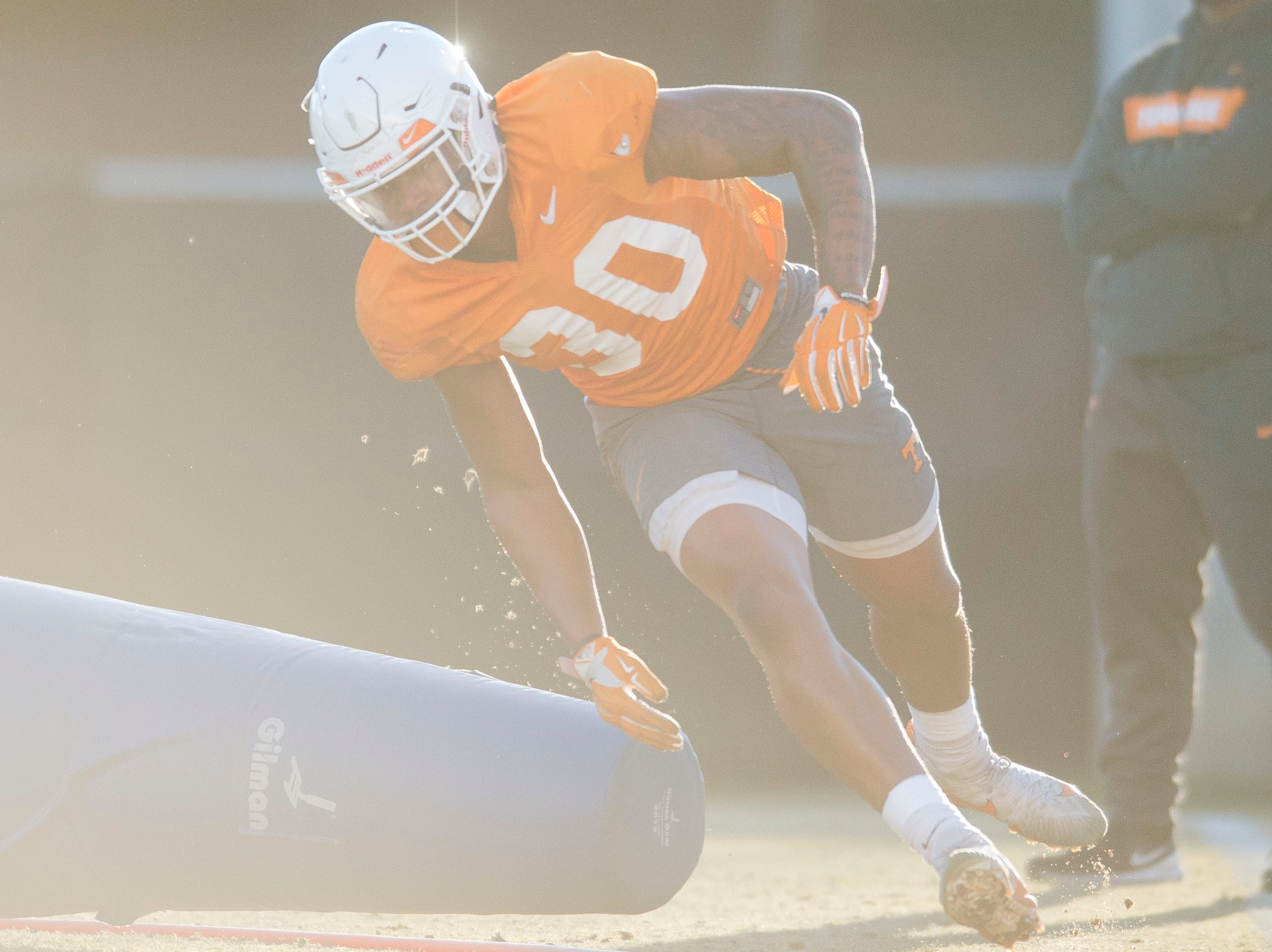 Tennessee linebacker Austin Smith (30) participates in a drill during Vols football practice Wednesday, Nov. 21, 2018.