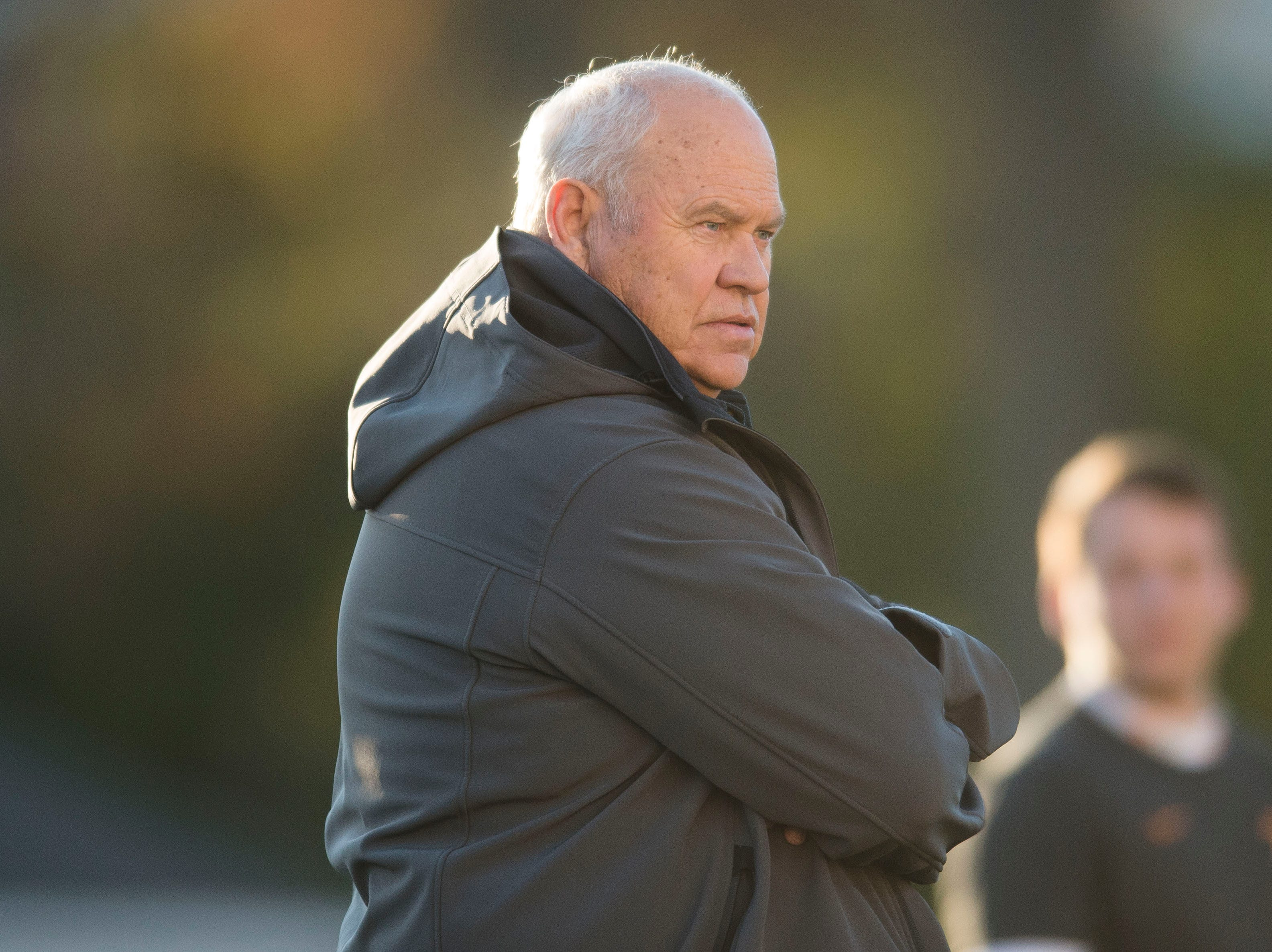 Tennessee athletic director Phillip Fulmer watches during Vols football practice Wednesday, Nov. 21, 2018.