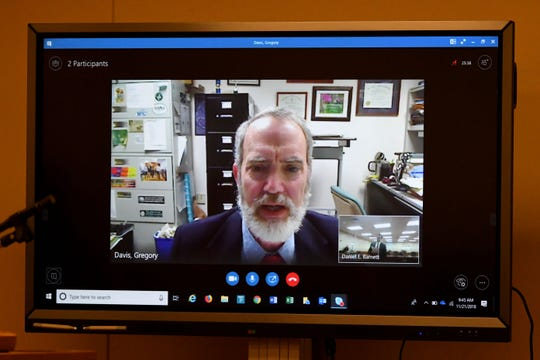 Expert witness Dr. Gregory Davis testifies via Skype during a Tennessee Supreme Court-ordered resentencing hearing Nov. 21 for Kevin Trent, who was convicted of vehicular homicide.