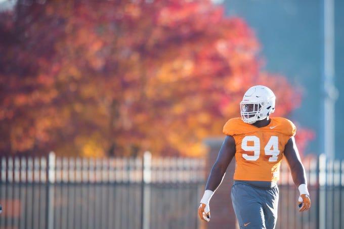 Tennessee defensive lineman Matthew Butler (94) walks on the field during Vols football practice Wednesday, Nov. 21, 2018.