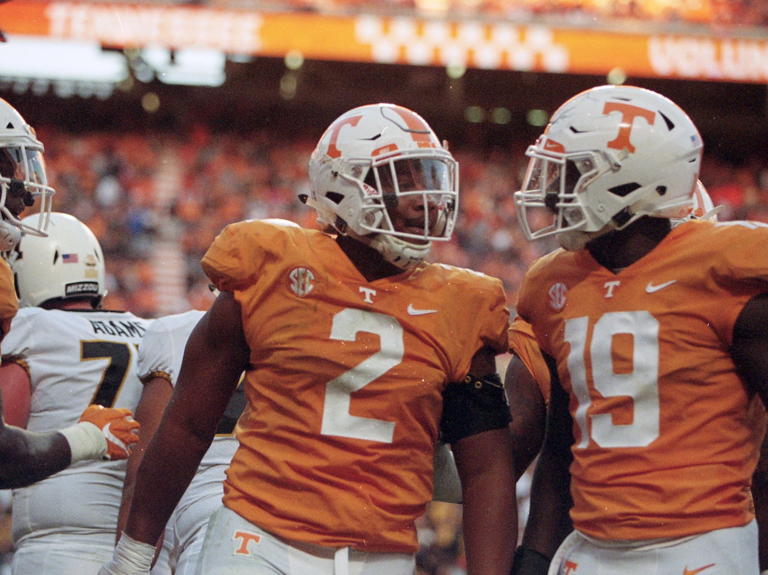 Tennessee defensive lineman Shy Tuttle (2) is congratulated by Tennessee linebacker Darrell Taylor (19) on a touchdown during a game between Tennessee and Missouri at Neyland Stadium in Knoxville, Tennessee on Saturday, November 17, 2018.