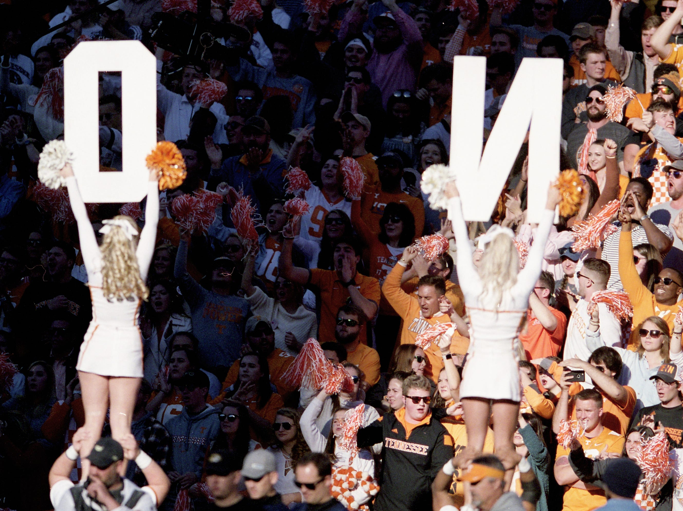 Cheerleaders hold letters during a game between Tennessee and Missouri at Neyland Stadium in Knoxville, Tennessee on Saturday, November 17, 2018.