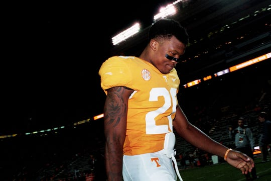 Tennessee defensive back Bryce Thompson (20) walks off the field during a game between Tennessee and Missouri at Neyland Stadium in Knoxville, Tennessee on Saturday, November 17, 2018.