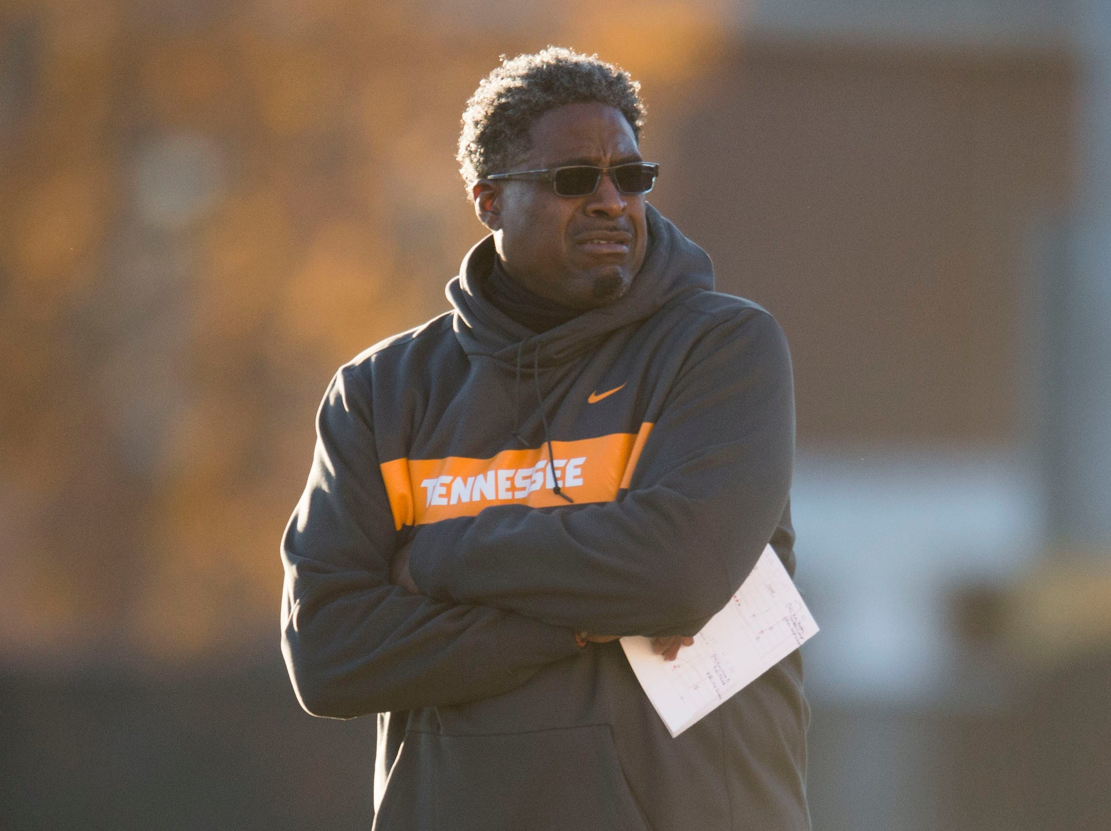 Defensive line coach Tracy Rocker coaches during Vols football practice Wednesday, Nov. 21, 2018.