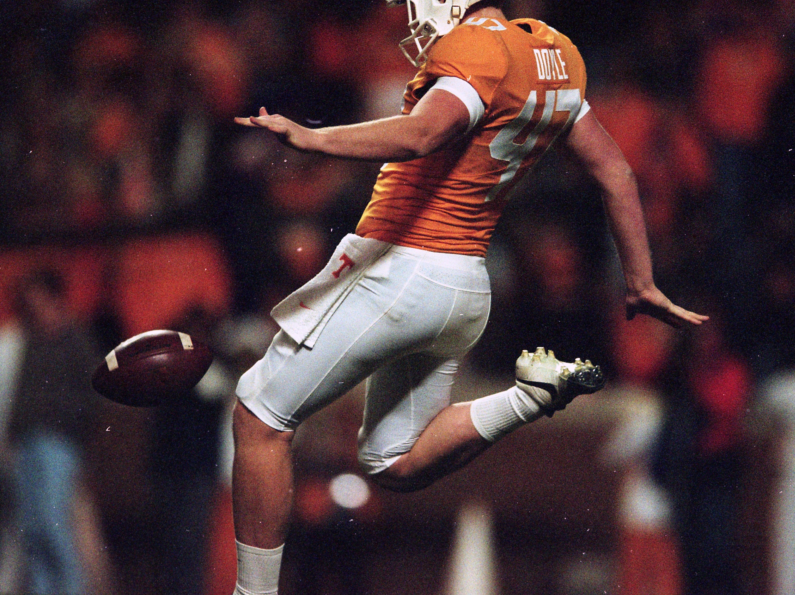 Tennessee punter Joe Doyle (47) punts the ball down the field during a game between Tennessee and Missouri at Neyland Stadium in Knoxville, Tennessee on Saturday, November 17, 2018.