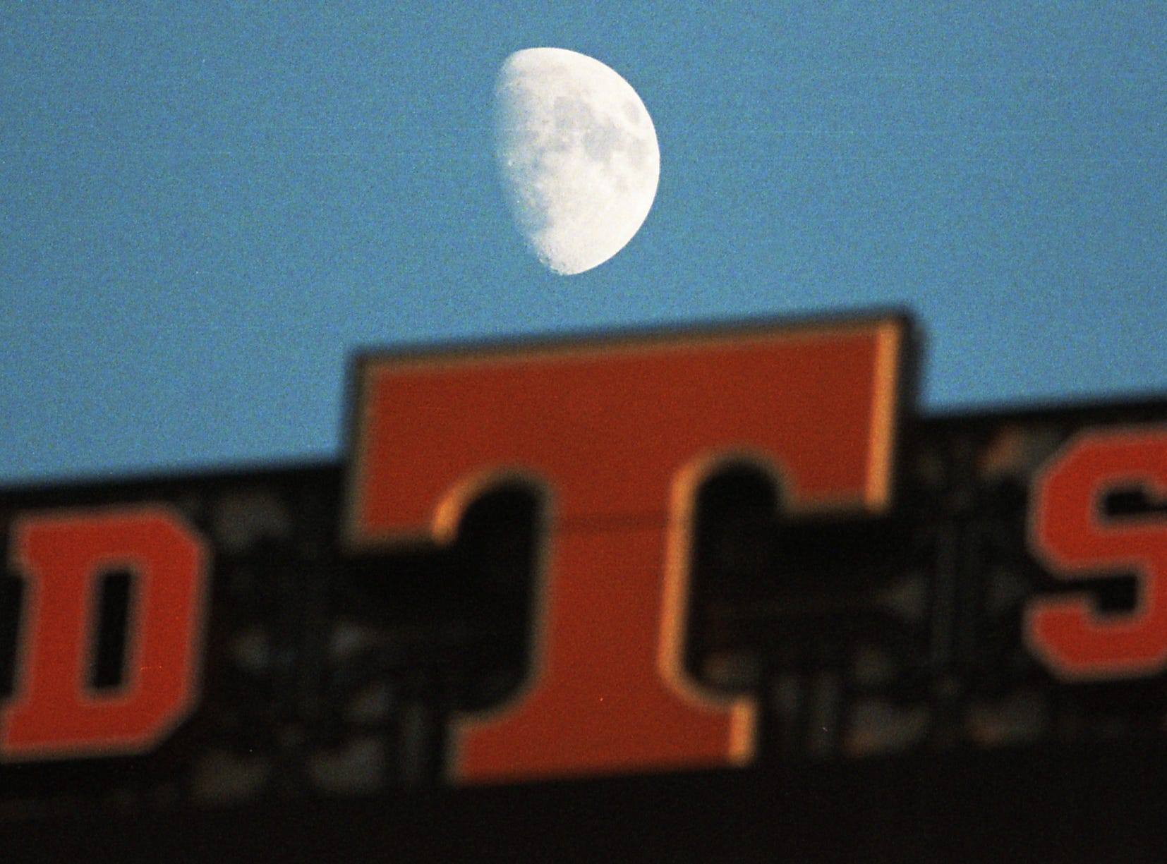 The moon rises over the scoreboard during a game between Tennessee and Missouri at Neyland Stadium in Knoxville, Tennessee on Saturday, November 17, 2018.