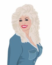 "An illustration of Dolly Parton in ""Women Who Rock."""