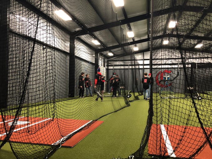 Central high school's new indoor hitting facility is 50 by 80 feet and features retractable batting cages, three pitchers' mounds, three softball pitching mats and machines.