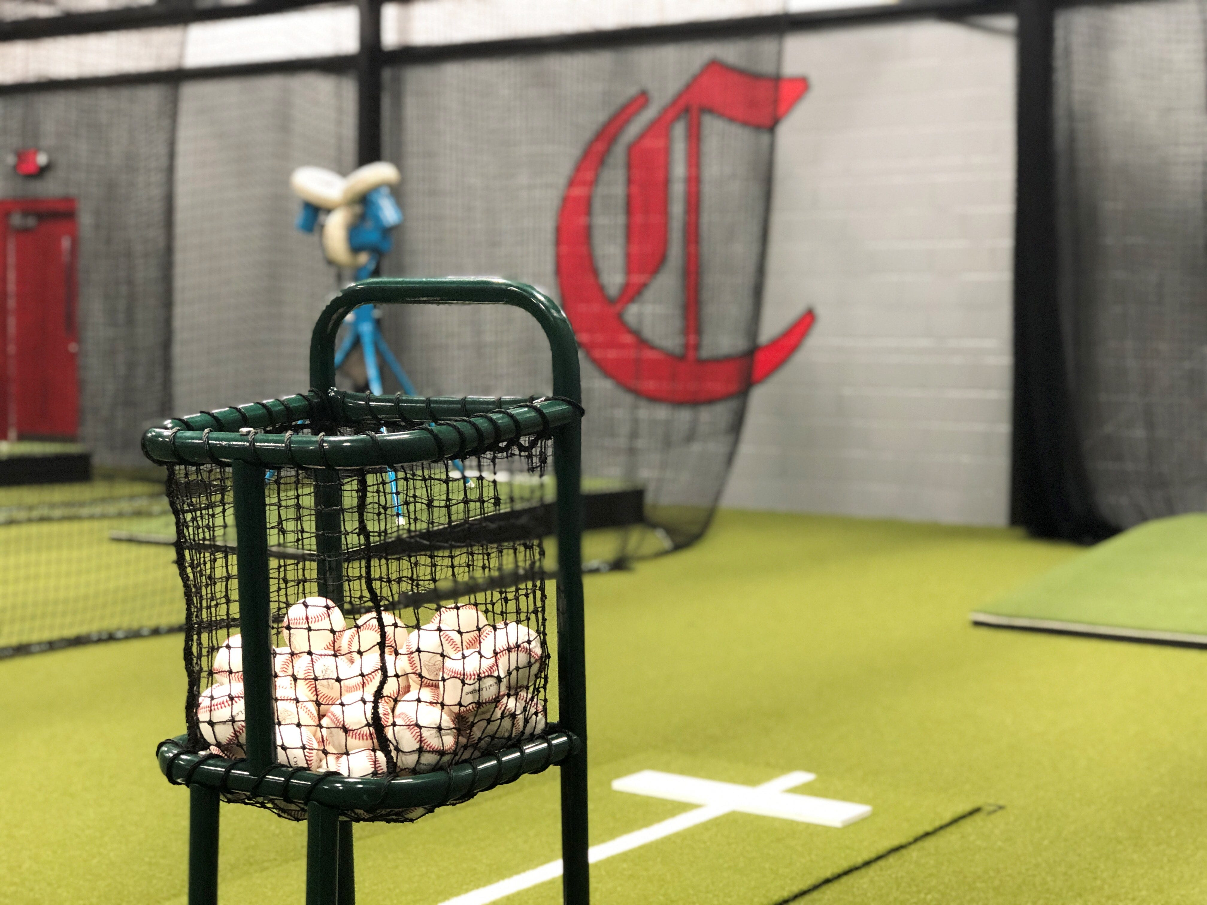The new indoor hitting facility allows baseball and softball players a location to practice in poor weather conditions.