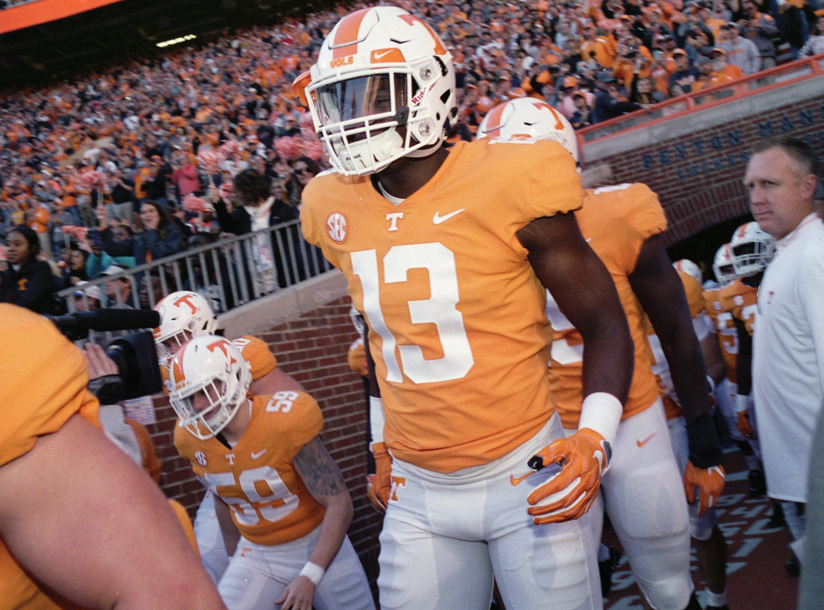 Tennessee linebacker Deandre Johnson (13) runs onto the field from the locker room during a game between Tennessee and Missouri at Neyland Stadium in Knoxville, Tennessee on Saturday, November 17, 2018.