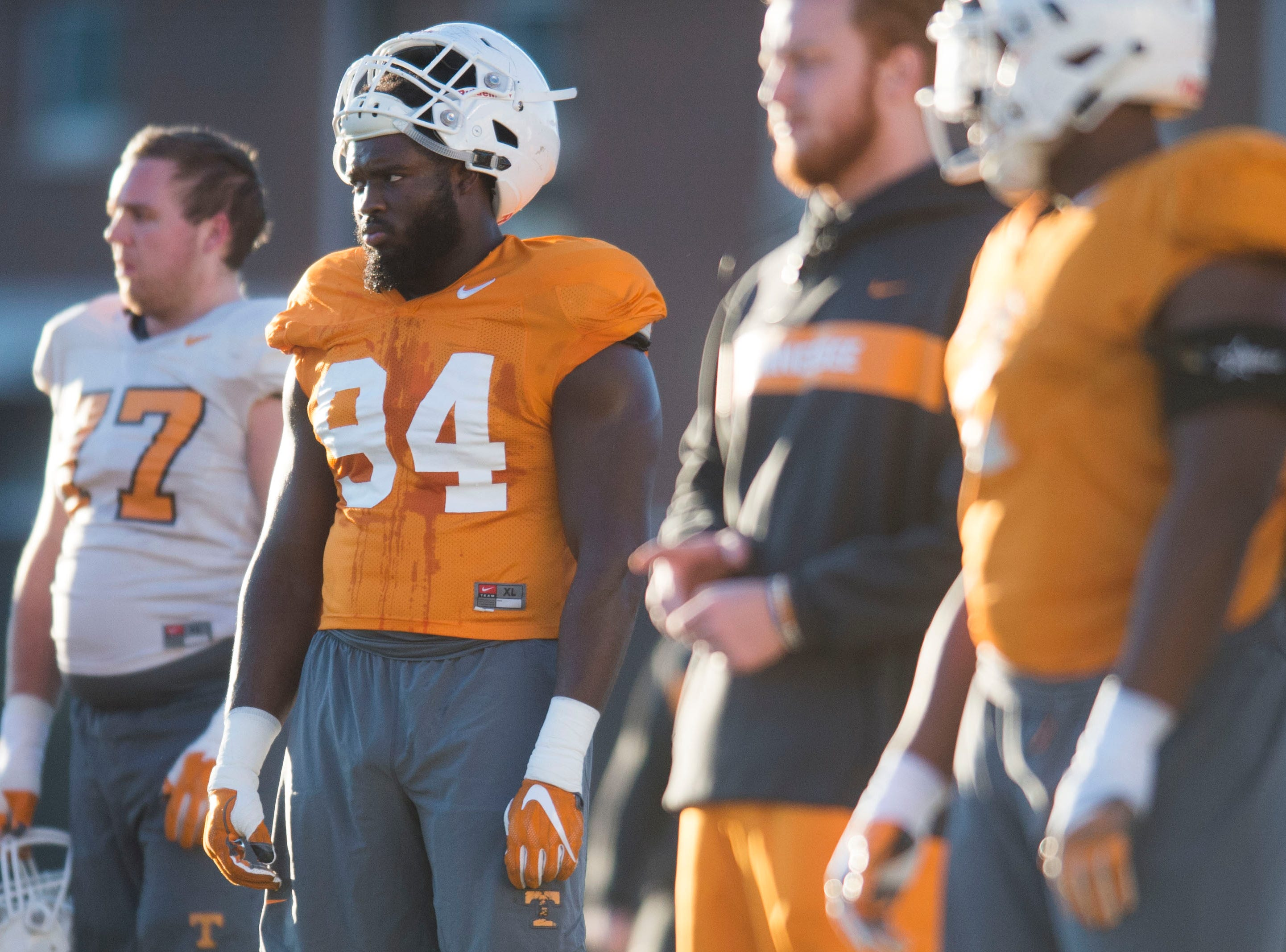 Tennessee defensive lineman Matthew Butler (94) stands on the field during Vols football practice Wednesday, Nov. 21, 2018.