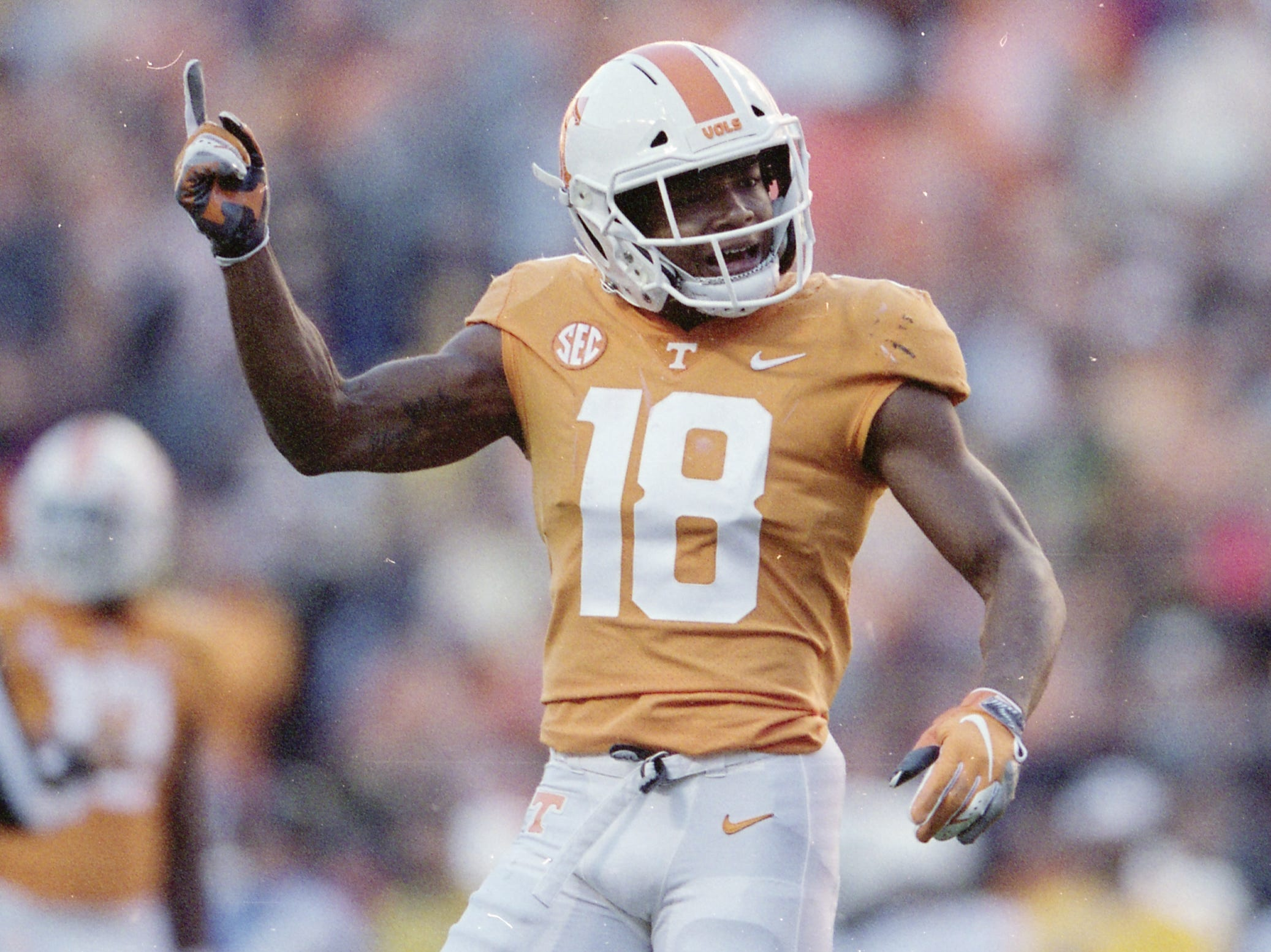 Tennessee defensive back Nigel Warrior (18) celebrates after making a play during a game between Tennessee and Missouri at Neyland Stadium in Knoxville, Tennessee on Saturday, November 17, 2018.