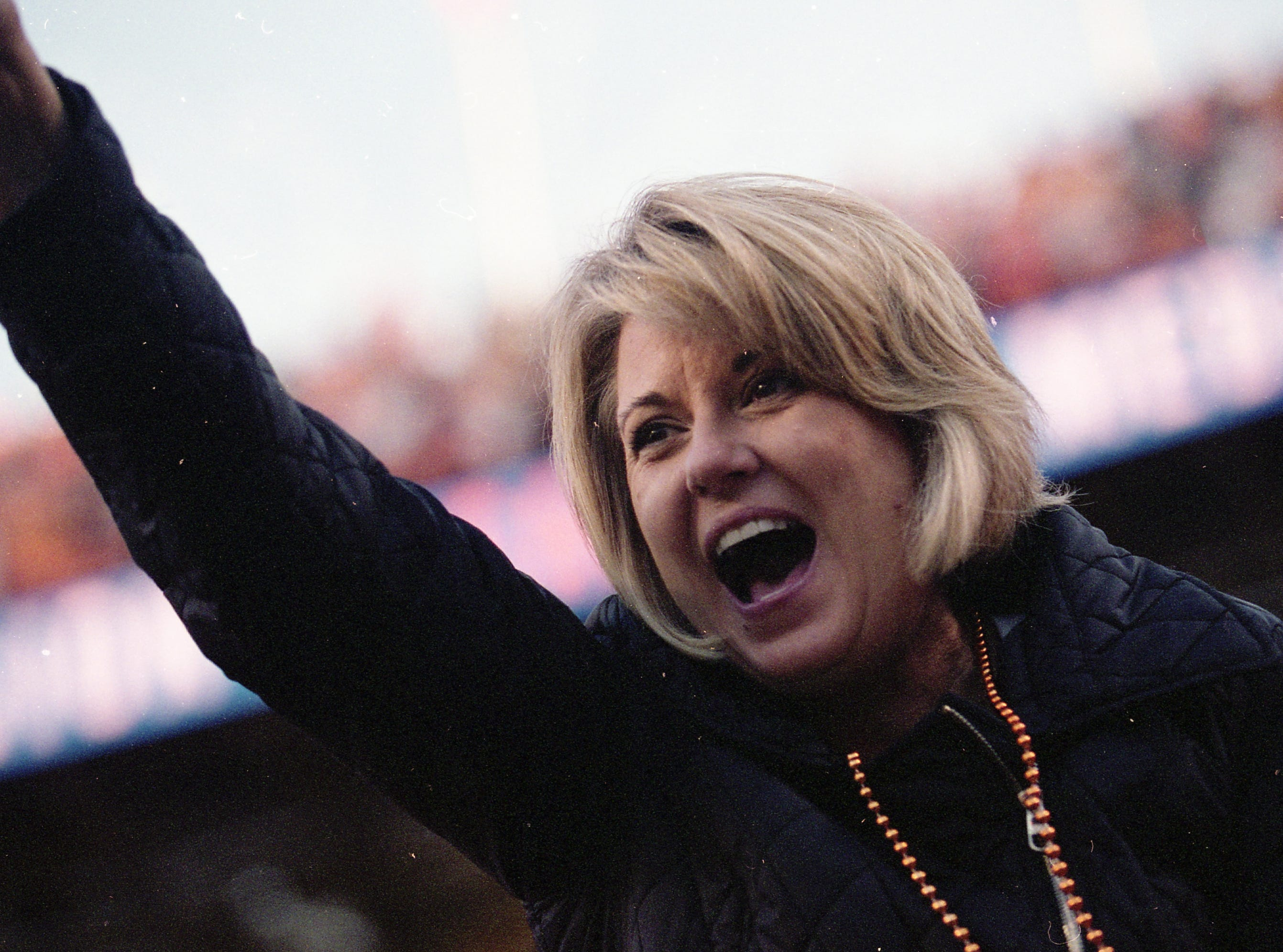 A Vol fan cheers from the stands during a game between Tennessee and Missouri at Neyland Stadium in Knoxville, Tennessee on Saturday, November 17, 2018.