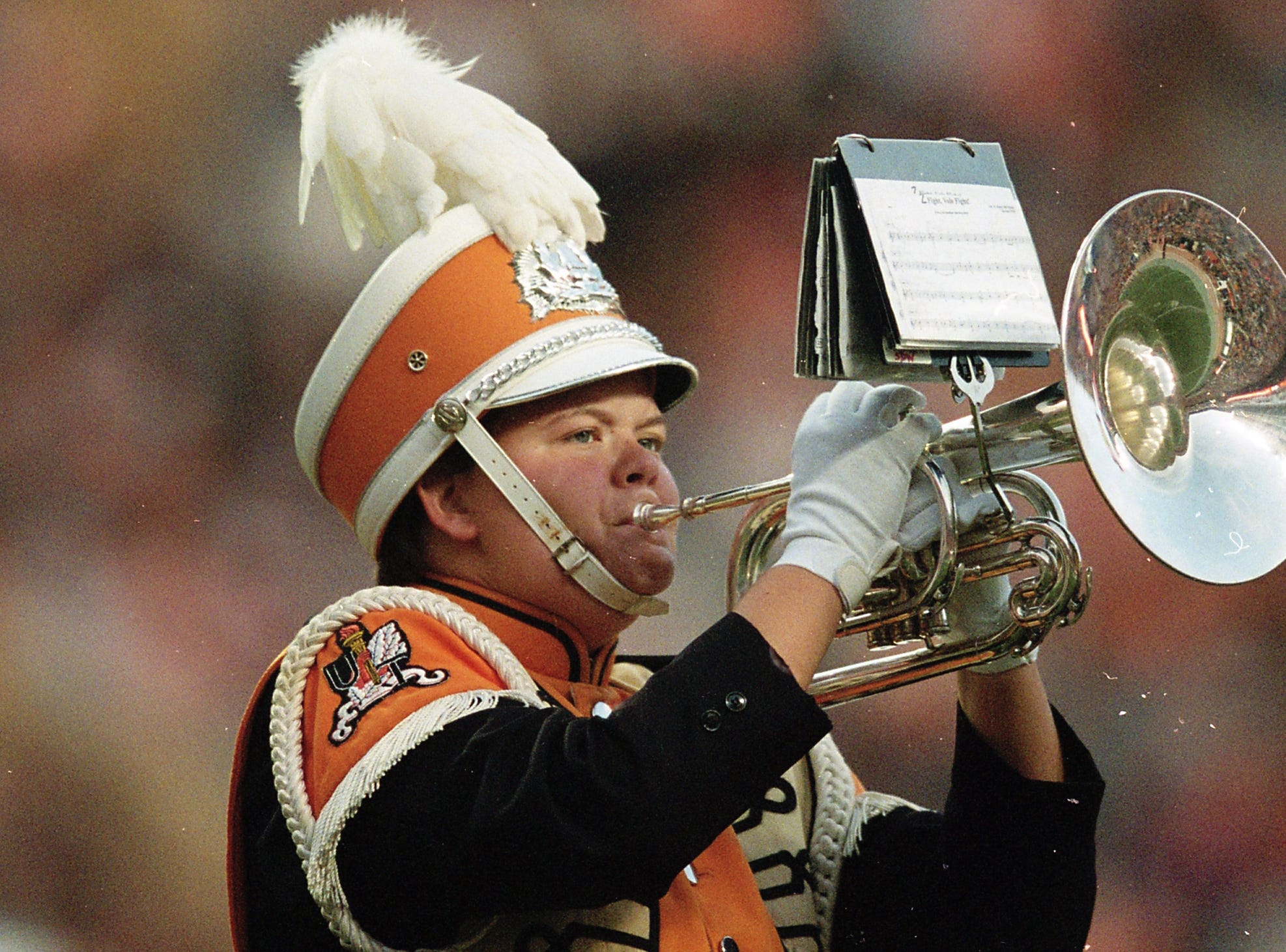 A Pride of the Southland Band member performs during halftime during a game between Tennessee and Missouri at Neyland Stadium in Knoxville, Tennessee on Saturday, November 17, 2018.