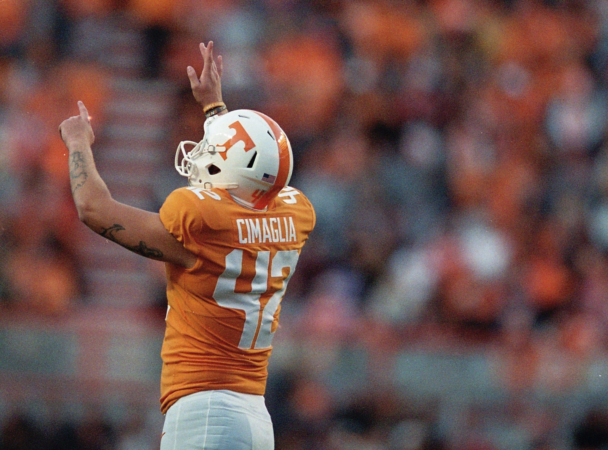 Tennessee placekicker Brent Cimaglia (42) celebrates after making a field goal during a game between Tennessee and Missouri at Neyland Stadium in Knoxville, Tennessee on Saturday, November 17, 2018.