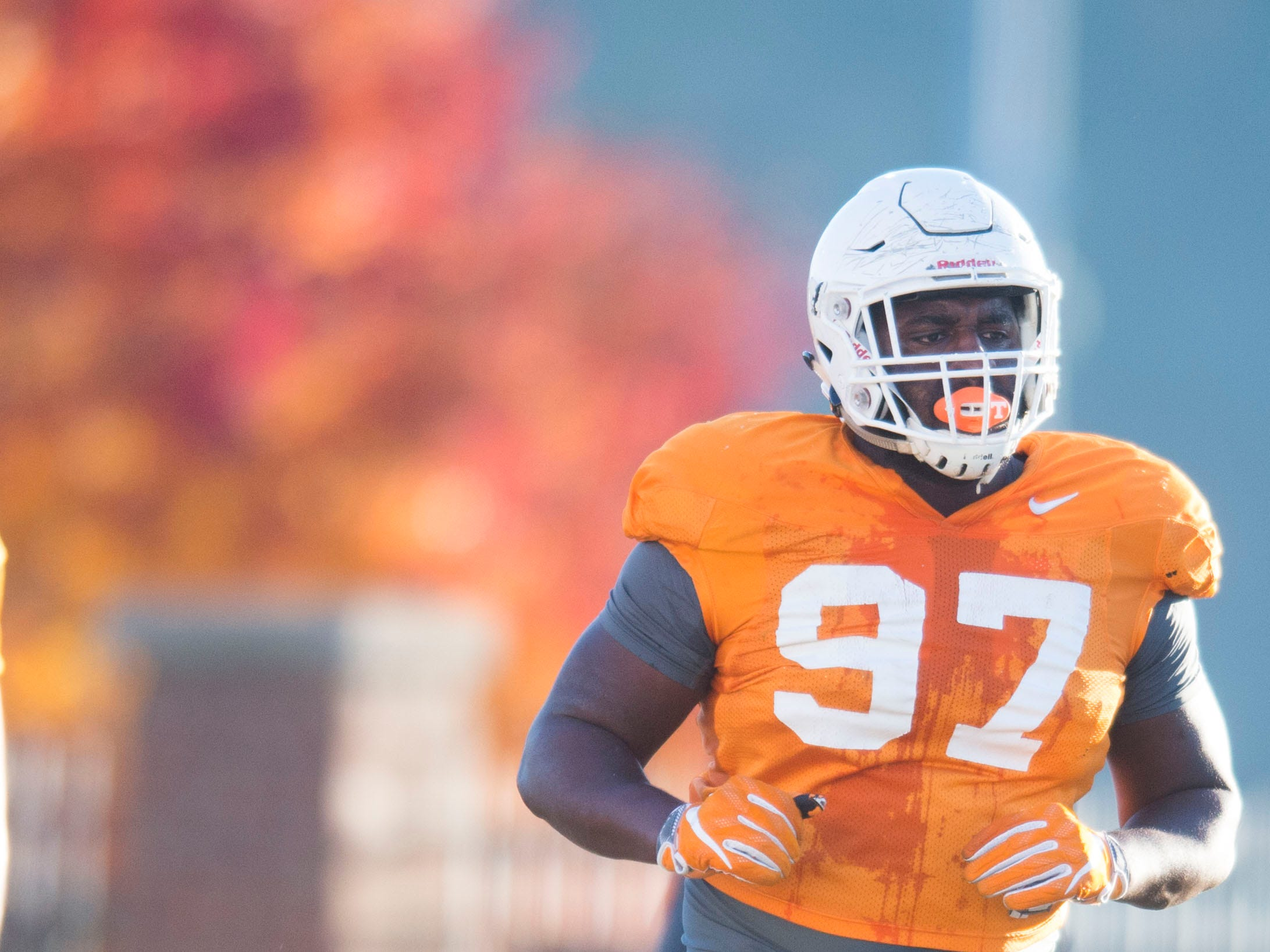 Tennessee defensive lineman Paul Bain (97) runs on the field during Vols football practice Wednesday, Nov. 21, 2018.