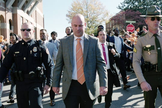 Tennessee Head Coach Jeremy Pruitt walks during the Vol Walk during a game between Tennessee and Missouri at Neyland Stadium in Knoxville, Tennessee on Saturday, November 17, 2018.